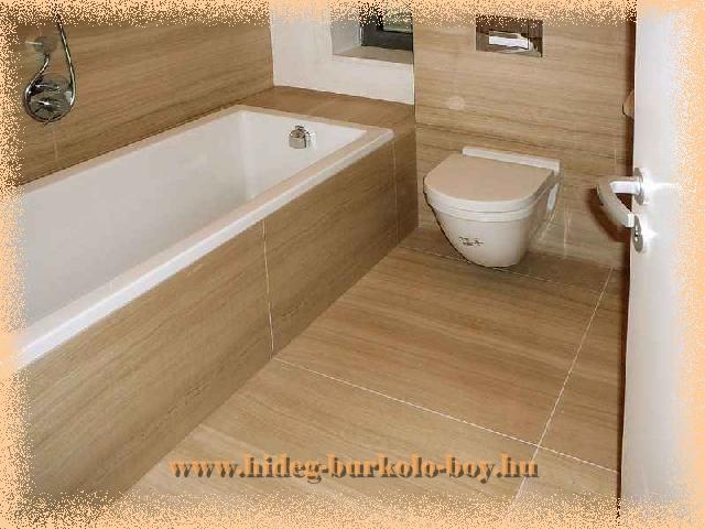 Nagy méretű burkoló lapok, még kisebb fürdőszobában is jól mutatnak.