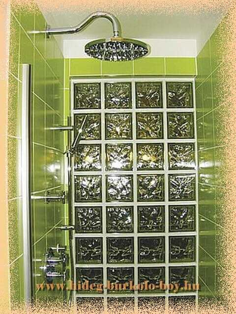 zuhanyzó megvilágító üvegtégla fal