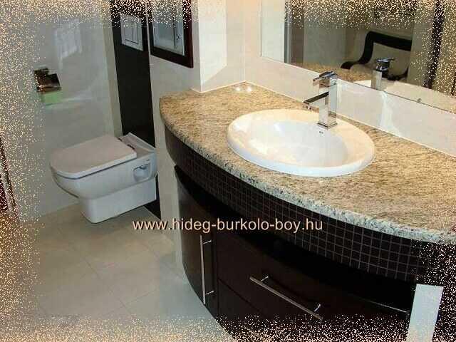 fürdőszoba mosdó fekete, bézs