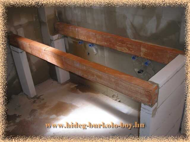 Mosdó pult építéséhez áthidaló lett használva