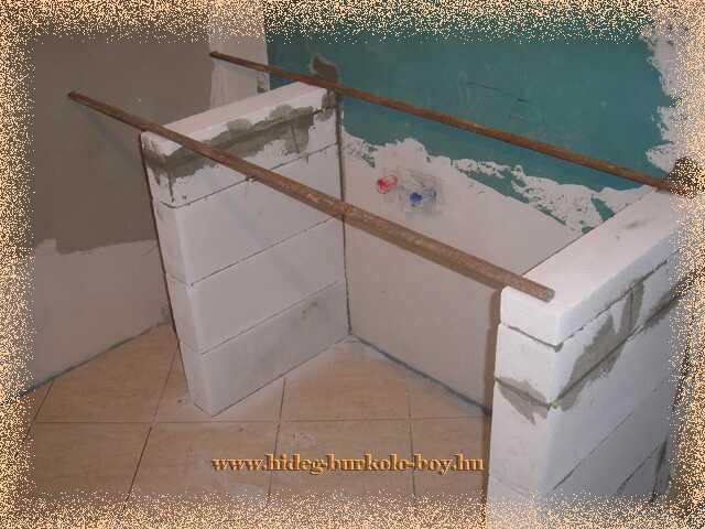 Mosdó pult építésénél beépíthetünk megfelelően méretezett vasbetont