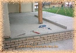 terasz beton lejtés