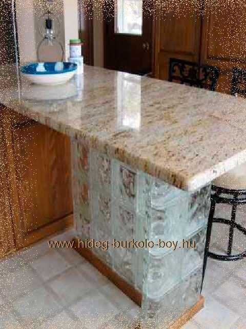 üvegtégla épített bútor