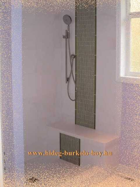 Épített zuhanyzó burkolás hálóra ragasztott válogattott kövekkel történt. a fuga színe úgy lett kialakítva hogy kiemelje és dominánsá tegye a kő burkolatot